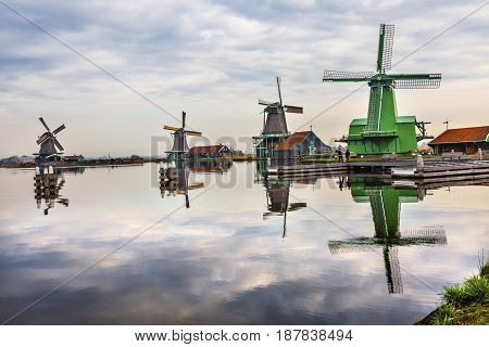 Wooden Windmills Zaanse Schans Old Windmill Village Countryside Holland Netherlands. Working windmills from the 16th to 18th century on the River Zaan.
