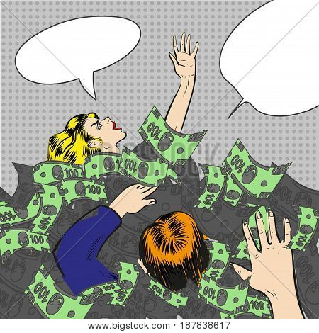 Vector illustration of man and woman with arms raised covered with paper money. Sinking in money people in retro pop art comic style.