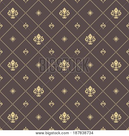 Seamless vector golden pattern. Modern geometric ornament with royal lilies. Classic vintage background