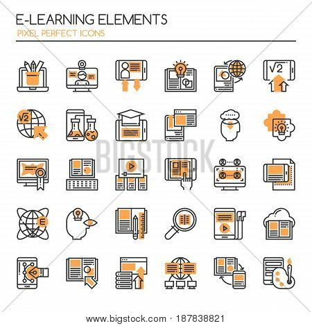 E-learning Elements Thin Line and Pixel Perfect Icons