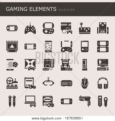 Gaming Elements Thin Line and Pixel Perfect Icons