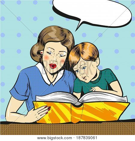 Vector illustration of woman reading book to her son, speech bubble. Mother and son in retro pop art comic style.