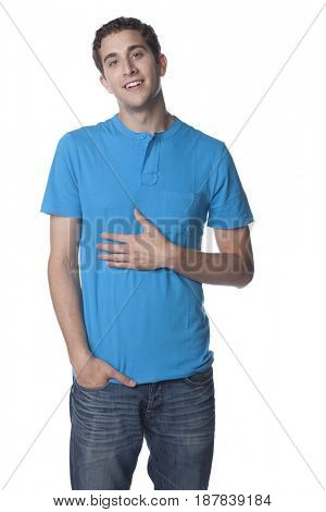 Caucasian man with hand in pocket