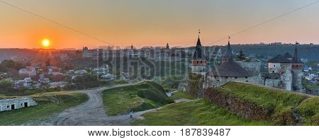 Dawn over the castle of Kamenets Podolsky panorama