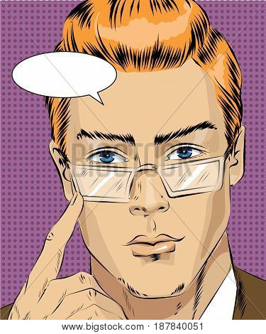 Vector illustration of man concentrating his attention on something in retro pop art comic style.