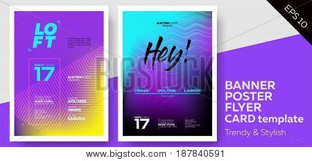 Electronic Music Covers for Summer Fest or Club Party Flyer. Colorful Waves Gradient Background. Template for DJ Poster Web Banner Pop-Up.