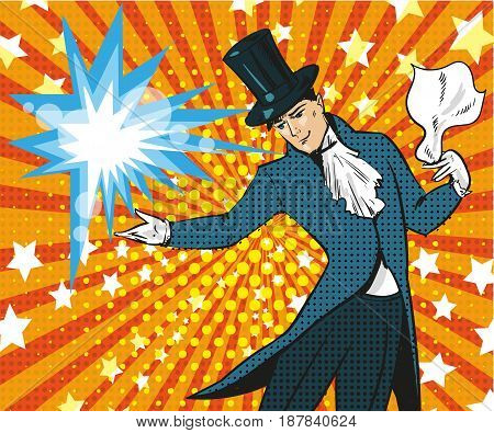 Vector illustration of magician performing trick. Illusions magic show or circus show design element in retro pop art comic style.