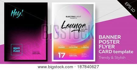 Music Covers for Summer Electronic Fest or Club Party Flyer. Lounge Minimal Techno Deep Dark Styles. Template for DJ Poster Web Banner Pop-Up.
