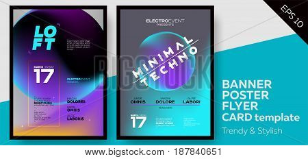 Music Covers for Summer Electronic Fest or Club Party Flyer. Minimal Techno Deep Dark Styles. Template for DJ Poster Web Banner Pop-Up.