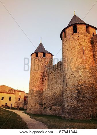 Stone towers of the historic fortified city of Carcassonne France. Medieval fortress.
