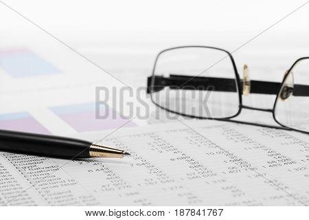 Financial accounting. Stock market graphs and charts