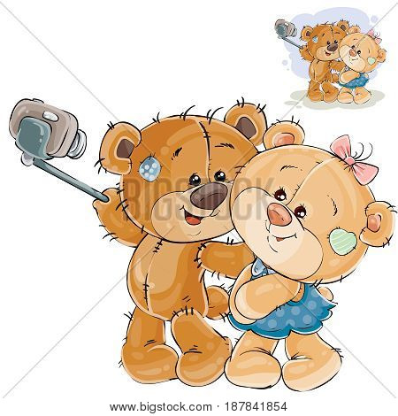 Vector illustration of a couple of enamored brown teddy bears making his selfie photo on a smartphone. Print, template, design element