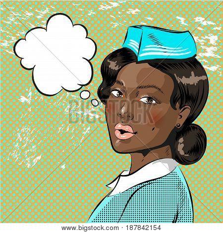 Vector illustration of beautiful african american flight attendant, speech bubble. Stewardess in retro pop art comic style.