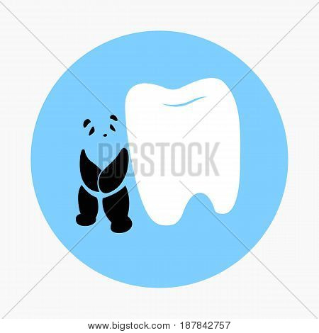 Panda and tooth dental icon vector in blue circle background