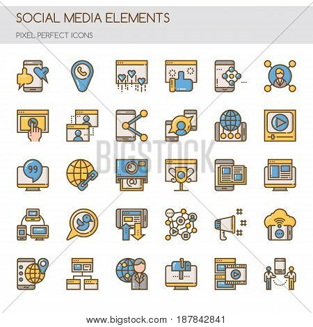 Social media Elements , Thin Line and Pixel Perfect Icons