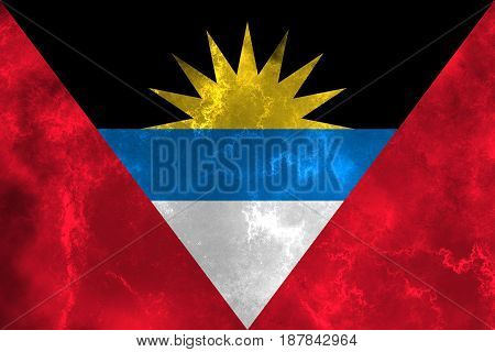 Antigua and Barbuda flag grunge background. Background for design in country flag