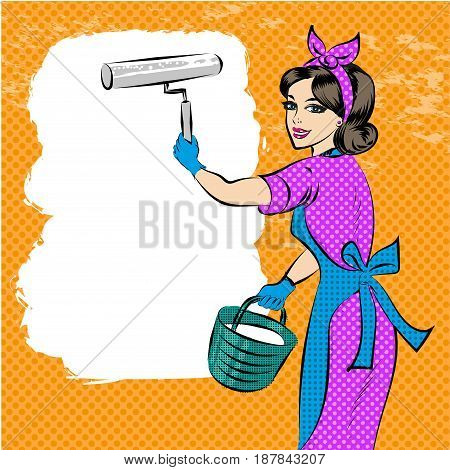 Vector illustration of house painter female with paint roller and bucket of paint. Wall painter professional in retro pop art comic style.