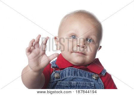 Caucasian baby with arms outstretched