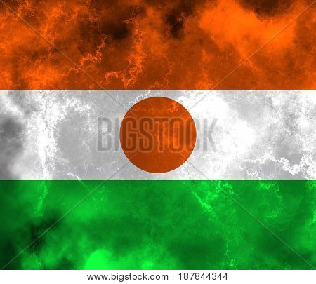 Niger flag grunge background. Background for design in country flag