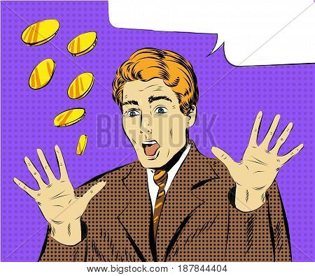 Vector illustration of amazed businessman with arms raised, speech bubble. Surprised man in pop art retro comic style.
