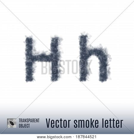 Smoke in Shape of the Letter H on White Background