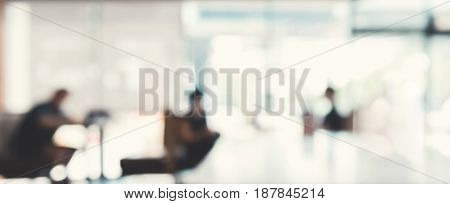 Blur office lobby hall interior - panoramic banner abstract background