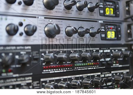 Sound control equipment. Board detail. Decay buttons. Broadcast technology