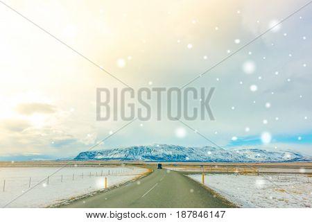 Road in Iceland,winter season