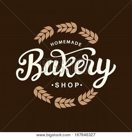 Bakery logo template design. Hand drawn lettering on dark background. Vintage calligraphy label emblem. Vector illustration.