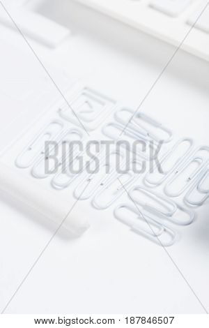 Close Up View Of Arranged Clips Isolated On White