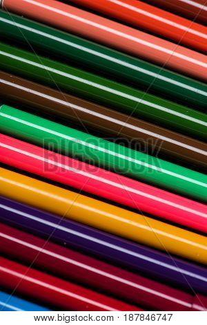 Close-up View Of Colorful Felt Tip Pens Set Texture