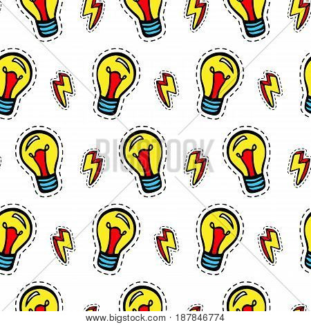 Light bulb patches seamless pattern. Trendy pop art 90s style. Fashion textile background