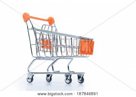 Little Metallic Empty Shopping Cart Isolated On White