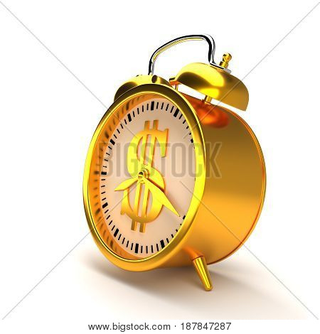 Golden alarm clock with dollar sign and clipping path.