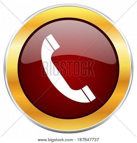 Phone red web icon with golden border isolated on white background. Round glossy button.