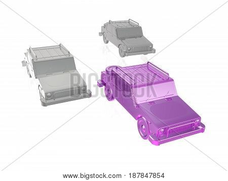Violet and grey cars on white reflective background 3D illustration.