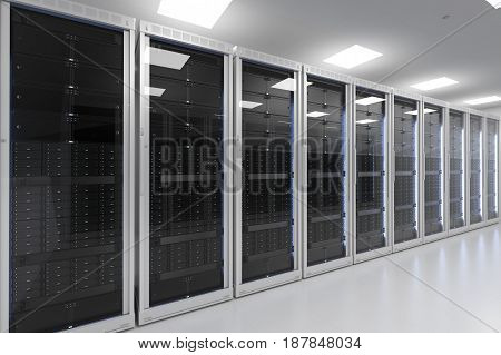 3d rendering server room or server computers