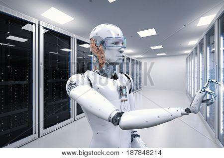 3d rendering robot working in server room