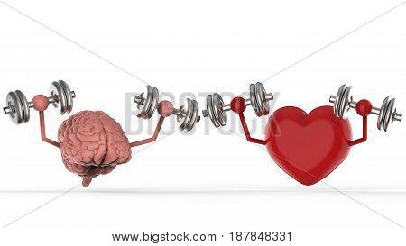 3d rendering brain and heart holding dumbbells