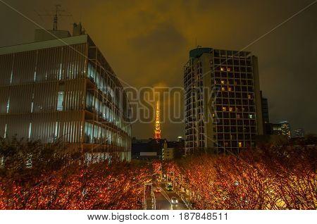 Tokyo Tower and Christmas illuminations in Roppongi Tokyo Japan