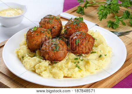 Delicious Meatballs On Hot Potato Puree