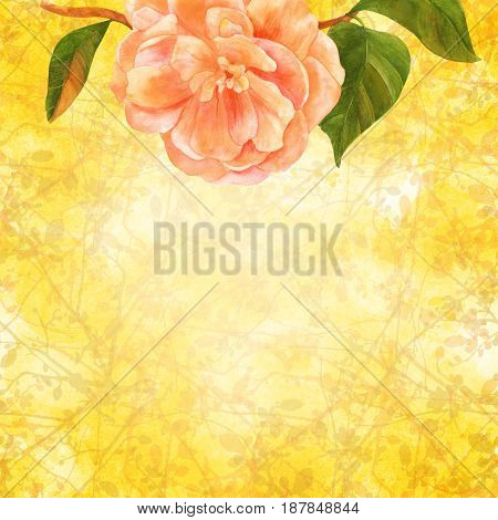 A greeting card or wedding invitation design template with a pink camellia on a golden toned background with tree branches, with a place for text