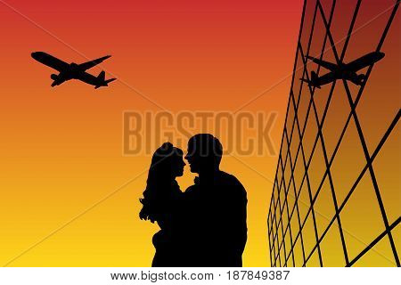 Lovers in airport at sunset. Vector illustration with silhouette of loving couple and flying aircraft . Bright gradient background