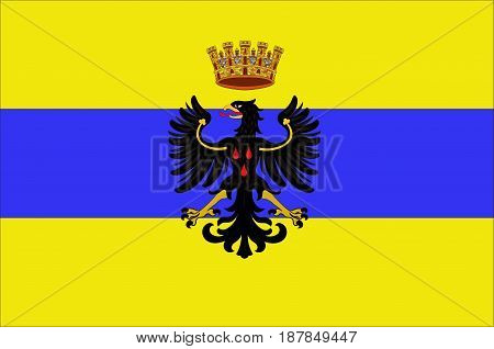Flag of Trento is a city located in the Adige River valley in Trentino-Alto Adige/Sudtirol in Italy. Vector illustration