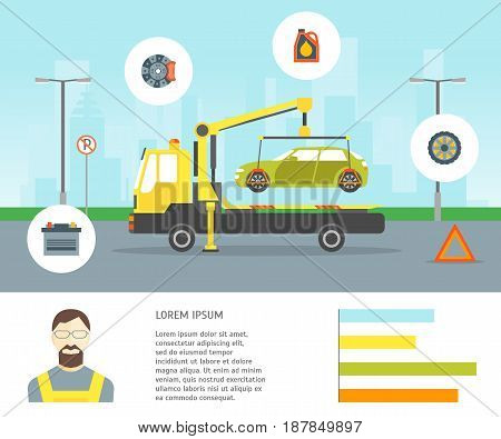 Cartoon Car Evacuation Service Card Place for Your Text Flat Style Design. Vector illustration