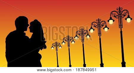 Lovers and vintage lampposts at sunset. Vector illustration with silhouette of loving couple. Bright gradient background