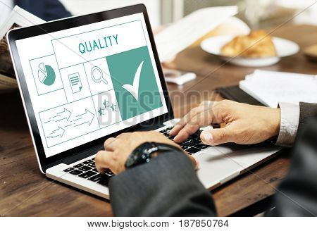 Illustration of quality product warranty assurance on laptop