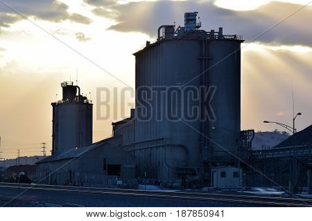 Cement factory which manufactures large quantities of cement that is in high demand