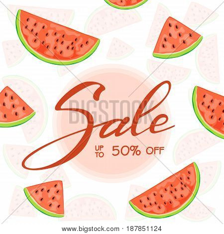 Lettering Sale and set of juicy watermelon slices on white background, illustration.