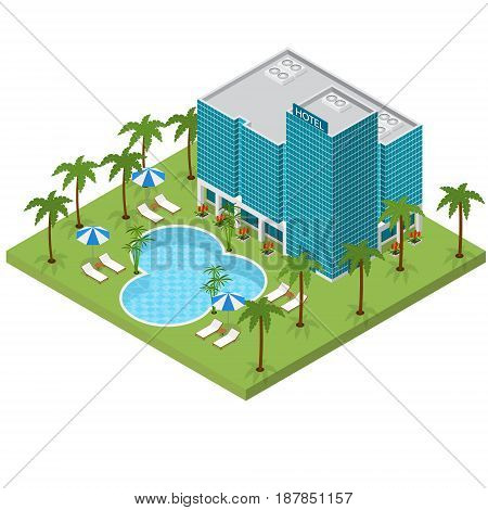 Resort Hotel Building Isometric View Travel or Vacation Architecture Modern Exterior Facade for Web. Vector illustration
